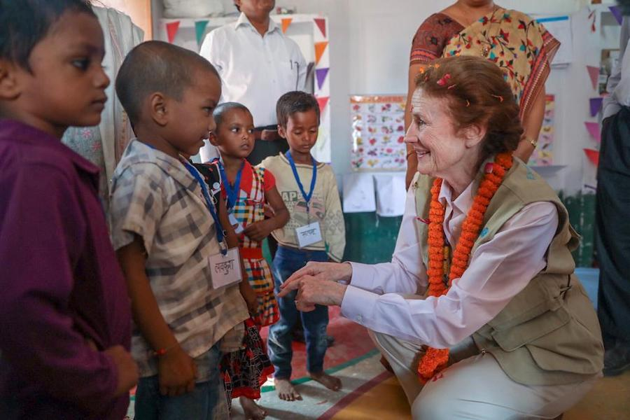 UNICEF Executive Director Henrietta H. Fore meets with young children at the Anganwadi Center in Varansai District, India in 2018.