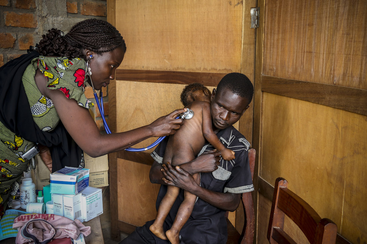 On 19 July 2018 in the Central African Republic, Pierre Mbassissi get receives a health screening at the Centre de Santé Saint Joseph, on the outskirts of Bangui.