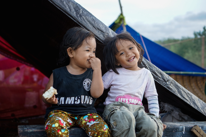 Lisa, 3, two weeks after an earthquake destroyed her family's home on Sulawesi island, Indonesia. UNICEF's emergency response effort included providing psychosocial support services to traumatized children.