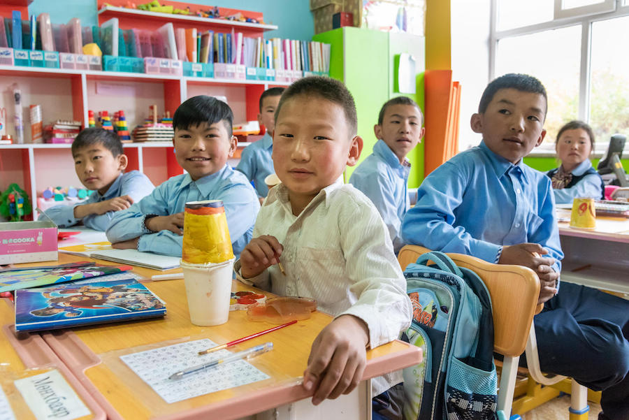Students at General Education School #3, Altai, Gobi-Altai province, Mongolia.