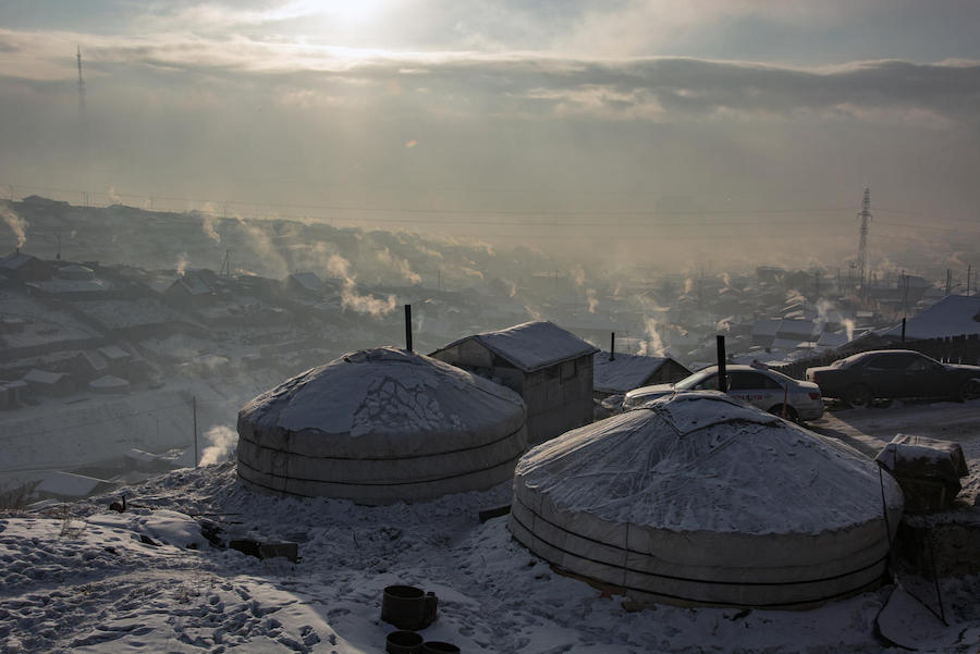 "UNICEF and partners are working to redesign Mongolian ""ger"" homes. Heated by coal-burning stoves, gers are a major source of air pollution and respiratory illness among children in Ulaanbaatar."