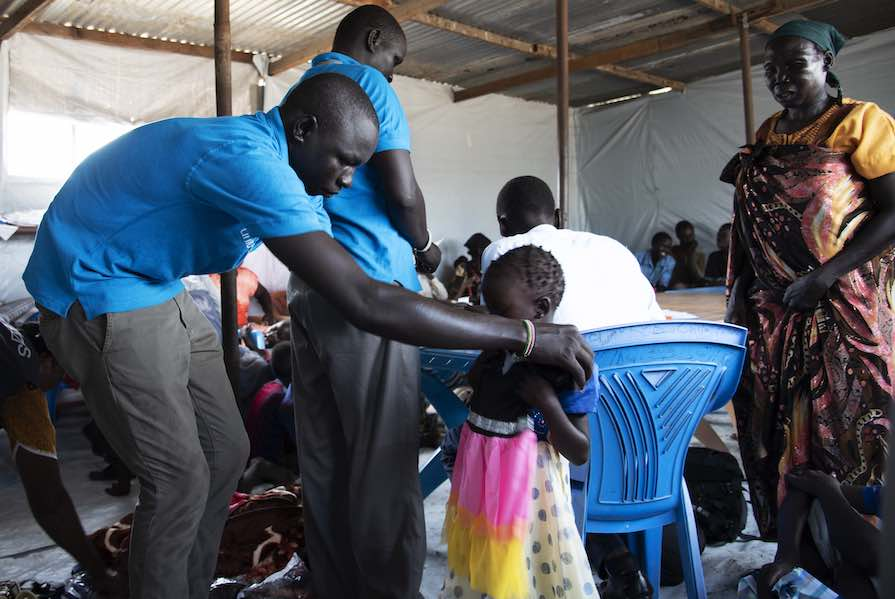 At one point, Char was looking after over 70 children, like the little girl above who is living at the United Nations (UN) civilian protection site in Malakal while she waits for her family to be located. Such sites along with the UN's broader peacekeepin