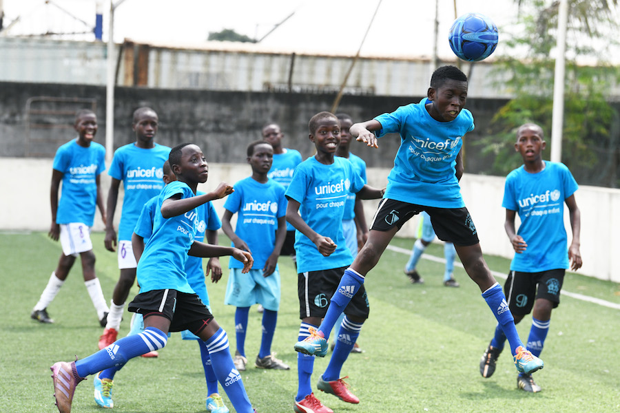 On World Children's Day, kids play soccer in Abidjan, the capital of Côte d'Ivoire.