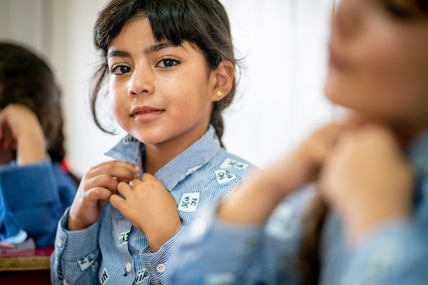 Aia (above) is 7 years old. She and her sister, Zana, 8, love to learn at UNICEF's child-friendly Makani Centers in the Za'atari refugee camp where they live in Jordan. There are 13 Makani Centers at the camp, where children who've fled war in Syria and I