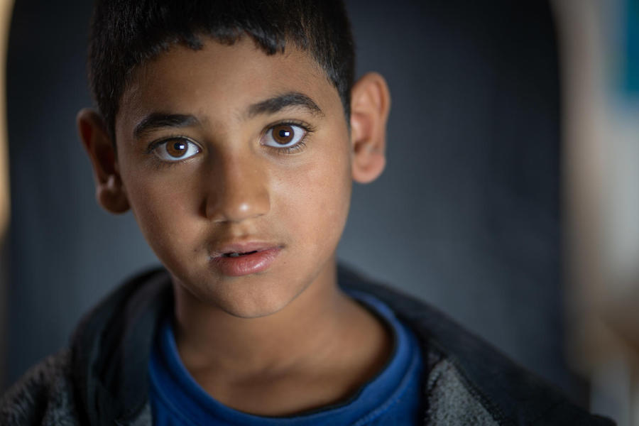 Omar, 11, lives in Za'atari Refugee Camp in Jordan with his family. He thinks their house in Syria was as big as the UNICEF Makani Center in the camp where he goes to learn and play.