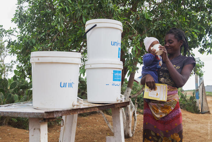 UNICEF and partners provide WASH kits containing clean, safe drinking water in basic health centers and schools in Madagascar .