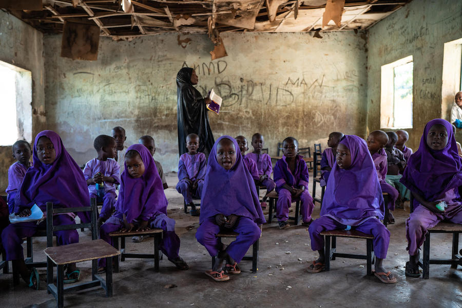 Young students recite a lesson at Miya Central Primary School, Bauchi State, Nigeria.