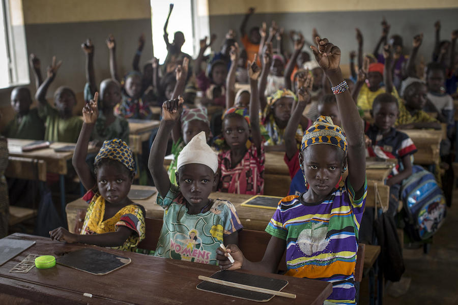 Students at a primary school in Nianabougou in the Sikasso region of Mali.