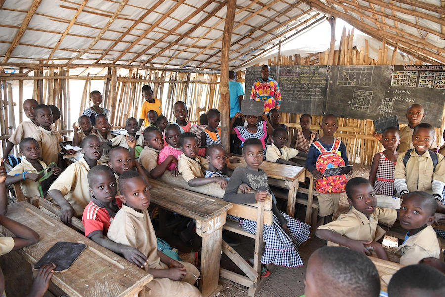 Students attending class in the community school at Sanguine, a village in western Côte d'Ivoire.