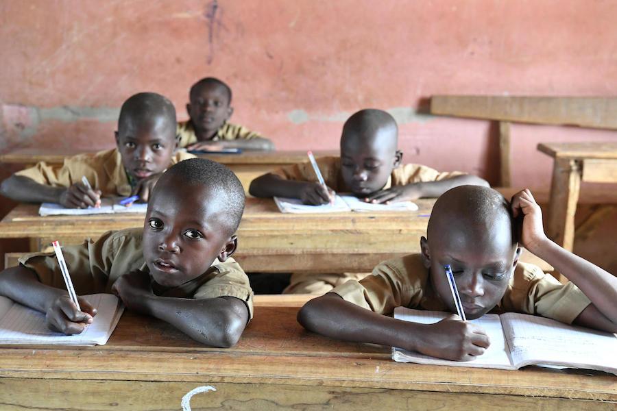 Boys attend class at an Islamic school in Biankouma, a village in western Côte d'Ivoire, in January 2019.