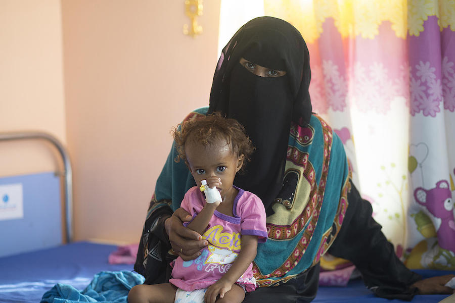 Saba weighed less than 13 pounds when her mother, Ashwaq Al-Raei, brought her to the UNICEF-supported Al Qatea Therapeutic Feeding Centeri n Yemen.