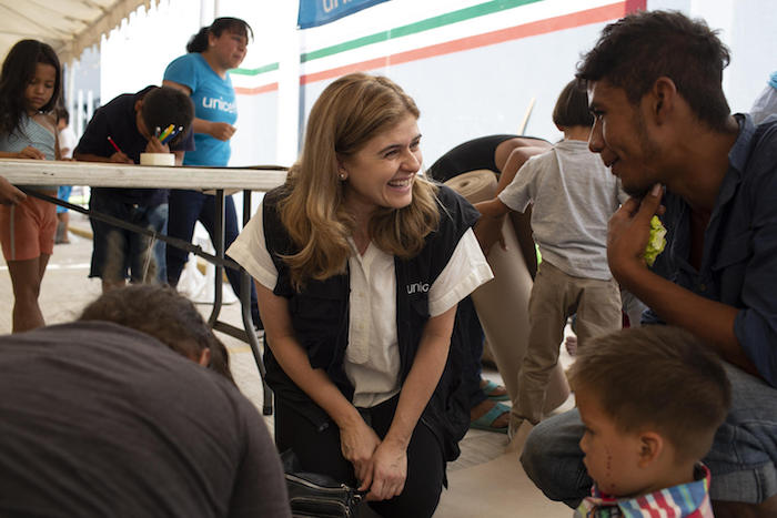 Paloma Escudero, UNICEF Director of Communication, visits migrant families awaiting their humanitarian visas at the UNICEF-supported Child-Friendly Space at the Mexico-Guatemala border in Ciudad Hidalgo, Mexico, on January 29, 2019.
