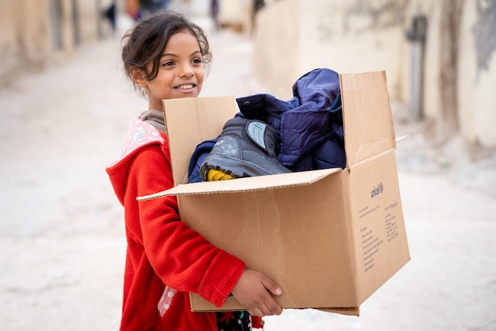 """""""In the winter, it gets very cold and starts snowing,"""" explains Besan, 10. She attends the UNICEF-supported Makani center. """"I don't like the cold. We don't leave home much during the winter."""" Send an Inspired Gift to give winter clothes to children in need."""