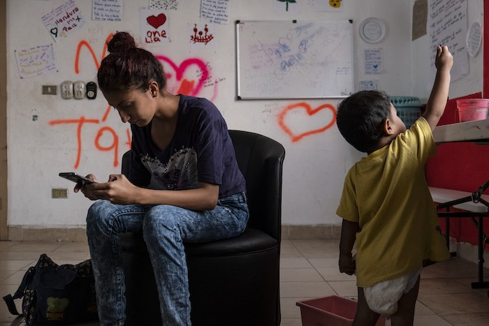Maria, 17, waits for a Mexican humanitarian visa with her one-year old son at a UNICEF-supported shelter for unaccompanied migrant girls, the Albergue Municipal de Ninas y Adolescentes Migrantes de Tapachula, in Tapachula, Mexico, on January 29, 2019. Mar