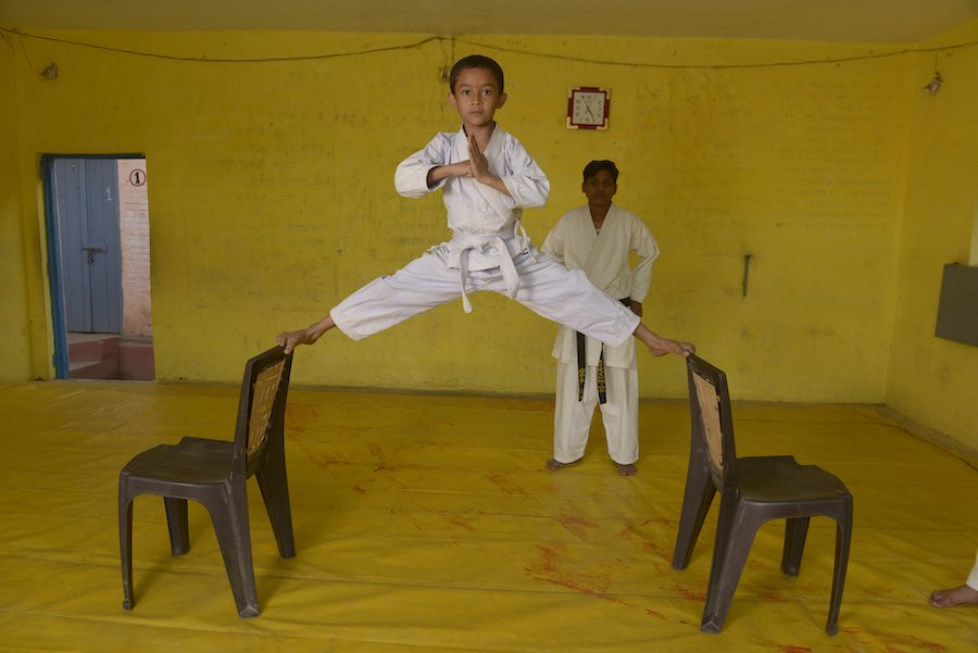 Mohit Uikey, 8, demonstrates during a practice session of the Tinka Samajik Sanstha martial arts training program. Tinka Samajik Sanstha was started as platform to give self confidence and fight against harassment.