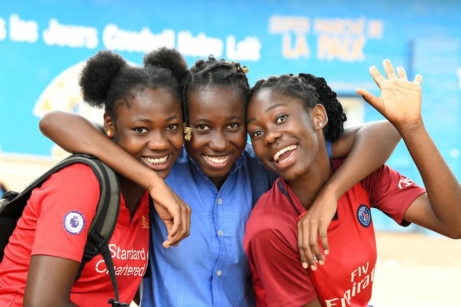 Teenage girls hang out in Dolisie, in the South of Congo, in February 2019.