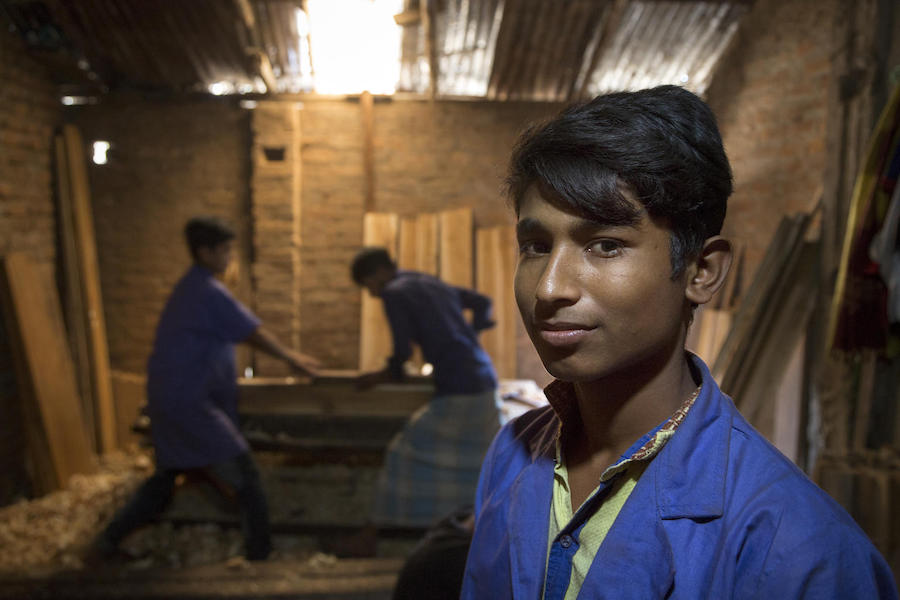 In February 2019, Mohammd, 16, is learning woodworking in a UNICEF-supported job skills program in the Cox's Bazar district of Bangladesh.
