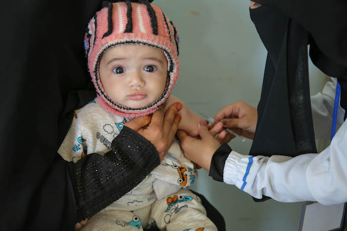 On 9 February 2019 in Yemen, a child is vaccinated in Bani Alhareth, Sana'a during a Measles and Rubella vaccination campaign.