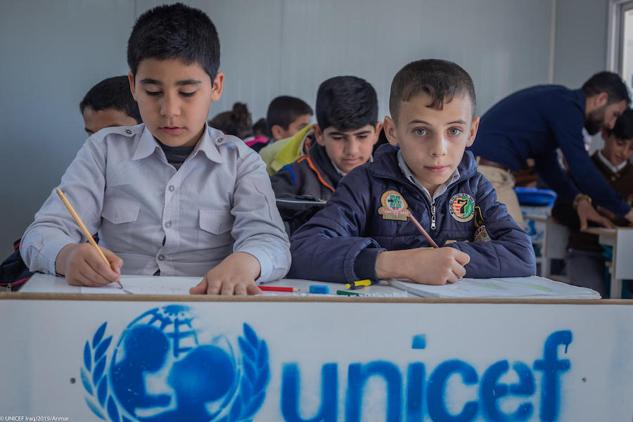 With support from the Bureau of Population, Refugees & Migration, UNICEF built the Keshti School in Erbil, Iraq, where Syrian students outnumber Iraqi students.