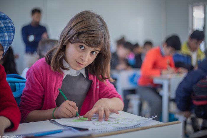 "More than 500 Iraqi and Syrian students are getting back to learning at this primary school in Erbil, built by UNICEF with the generous support of the Bureau of Population, Refugees, & Migration. "" Here I can complete my studies and get ready for universi"