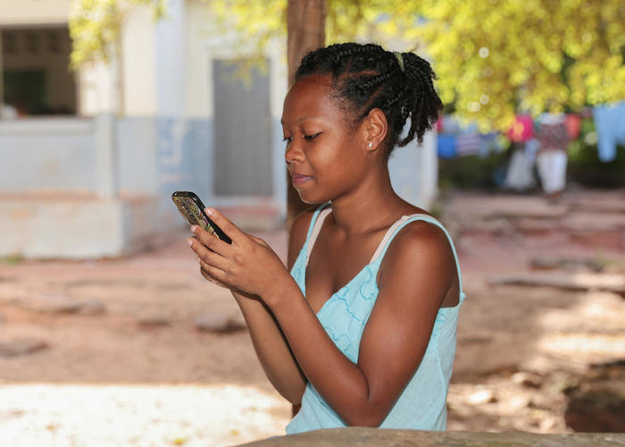 Maria from Madagascar leads a school club organized to help kids stay safe on social media.