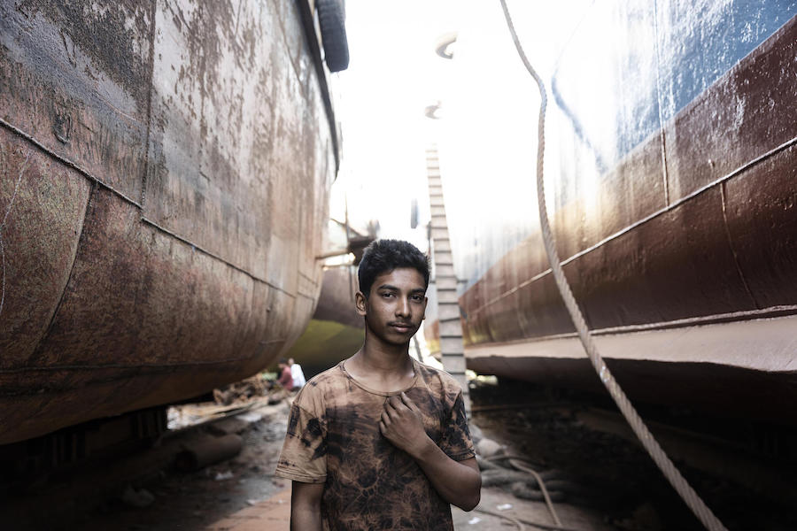 Sixteen-year-old Mohamed Shajib came to find work in Dhaka after flooding swept away his family's home.
