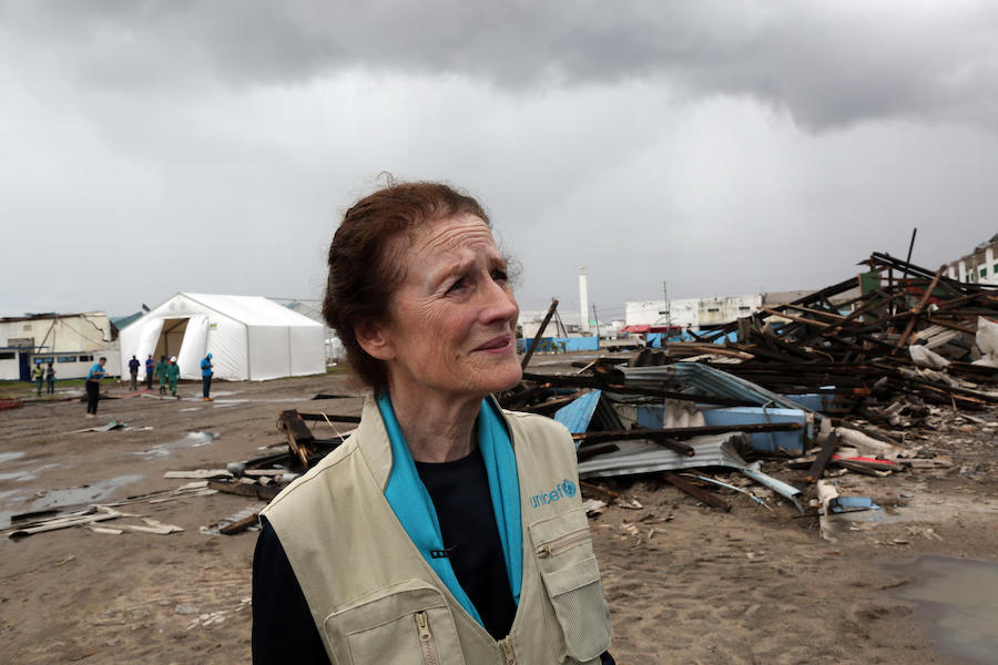 On March 22, 2019, UNICEF Executive Director Henrietta H. Fore visits a UNICEF warehouse damaged by Cyclone Idai in Beira, Mozambique.