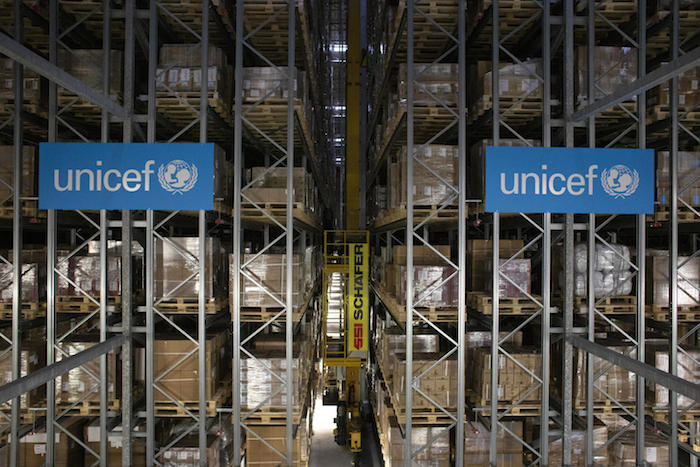 High-bay warehouse at the UNICEF's Supply Division in Copenhagen, the world's largest humanitarian warehouse.