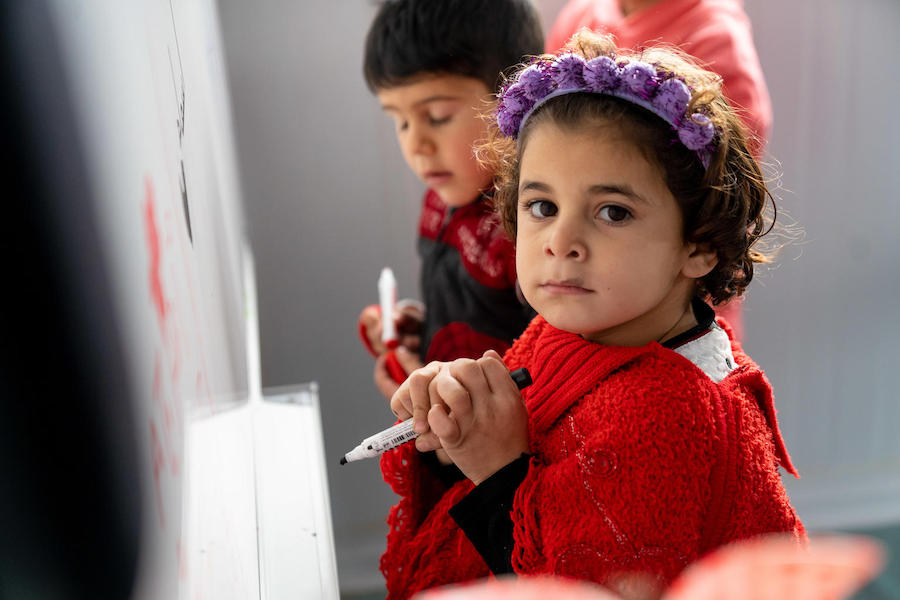 Thousands of refugee children are getting an education with the opening of 54 new Kindergartens in Azraq and Za'atari refugee camps as part of UNICEF's support to the Government of Jordan to achieve universal KG2 in Jordan by 2025.
