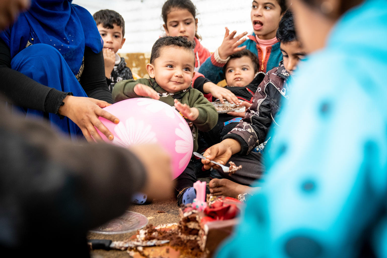 One-year-old Mohammad celebrates his first birthday in Azraq refugee camp in Jordan, where he was born in the UNICEF-supported pediatric ward.