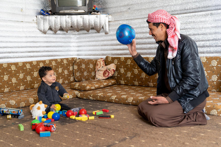Mohammad, 1, was born in Jordan's Azraq refugee camp. His father, Shaheen, works as a shepherd to support his family, who are refugees from Syria.