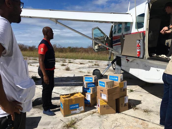 On April 30, 2019, UNICEF medical supplies are transported by plane to Ibo Island, Mozambique, after Cyclone Kenneth.