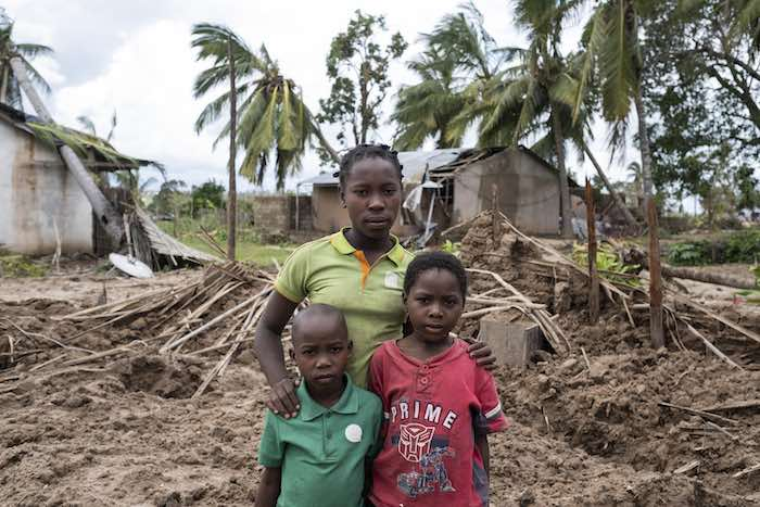 3 May 2019. Joana Inacio (13 years), Maisinha (8 years) Inaciao (6) lives in Macomia, an area hit hard by Cyclone Kenneth. Their house was destroyed by the cyclone, and their family are working hard to rebuild their home. Jonana said that after the cyclon