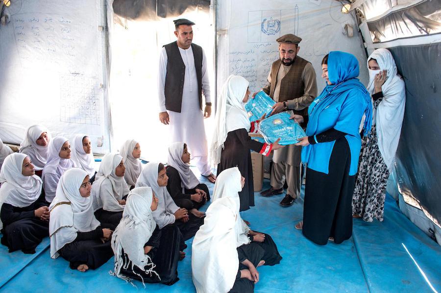 UNICEF Afghanistan staff visit the Zanogra Community-Based Education cluster to deliver school supplies in Surkhrod distict, Nangarhar province, Afghanistan in April 2019.