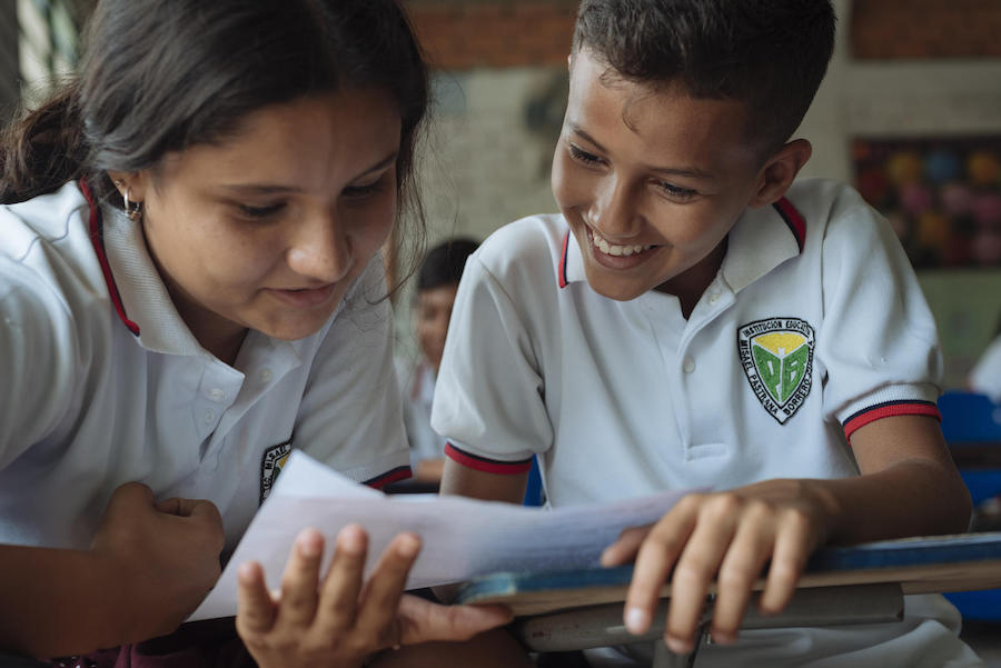 On 24 April 2019 in Cucuta, Colombia, students attend class at the Misael Pastrana School where about 70% of the students are Venezuelans who cross the border every morning to attend.