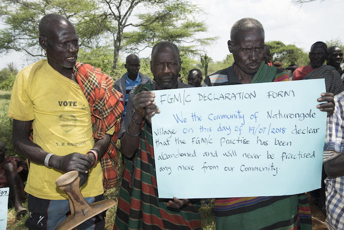After a UNICEF-supported training in 2018, villagers in Uganda's Moroto district announced that female genital mutilation would no longer be permitted their village, Naturongole.