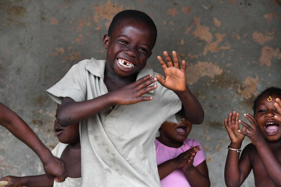 Children having fun in the streets of Adjamé, a suburb of Abidjan, the capital of Côte d'Ivoire, in 2019.