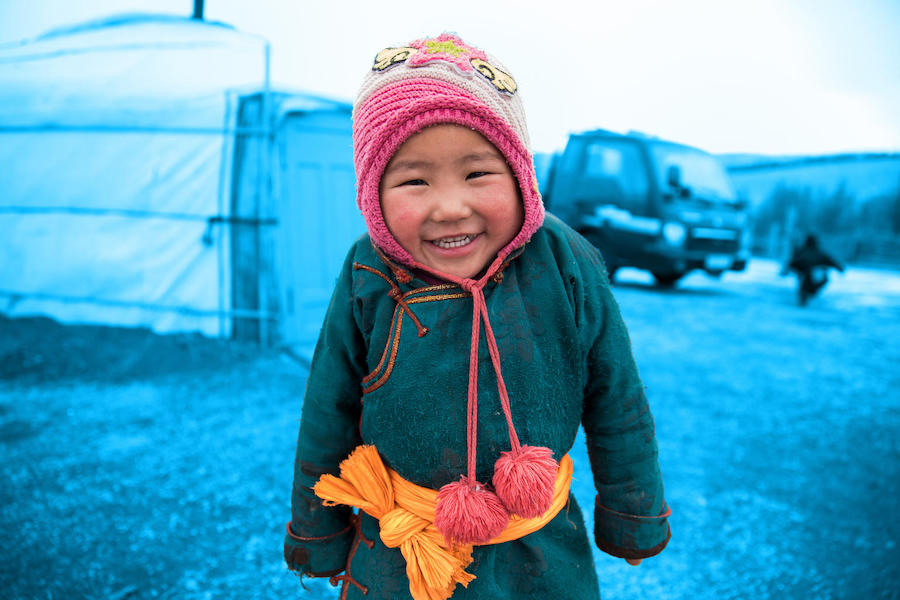 Big sister Batyargal, 4, outside the family ger in the Alag-Erdene area of Mongolia on March 2, 2018, after her mother gave birth in a UNICEF-supported health center.