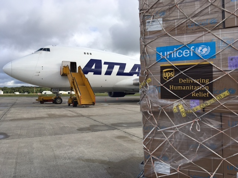 Emergency supplies packed at UNICEF's global supply warehouse in Copenhagen are loaded onto a B-747 cargo plane headed for Abuja.