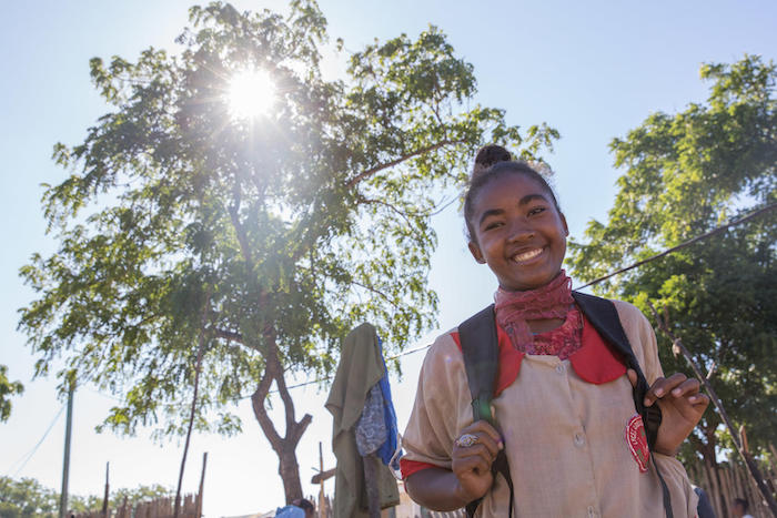 Forced to drop out of school when she became pregnant at 15, Olivia, now 16, is back in school thanks to a UNICEF-supported life skills program in Amboasary, Madagascar.