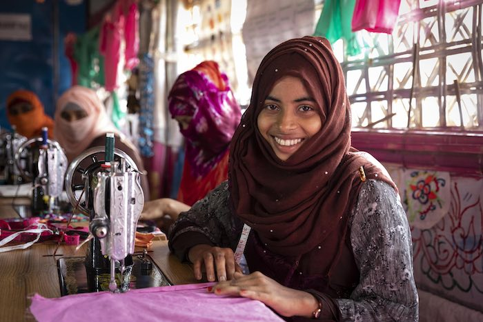 That approach is working for 15-year-old Yasmin Ara, 15, who thanks to UNICEF and partners is learning much more than the skills traditionally considered women's work. The youth center she attends teaches girls tailoring and embroidery along with the simp