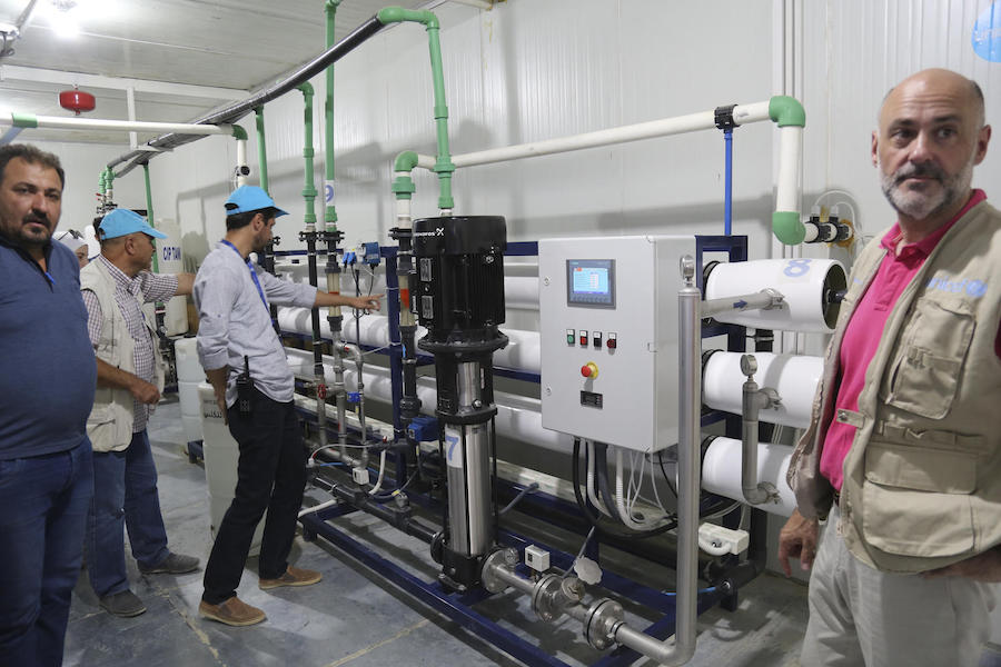 In July 2019, a UNICEF delegation visited a water purification station installed by UNICEF in Al-Hol camp, northeast Syria.