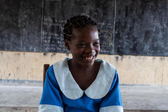 Out of school for nearly three years after her family was pushed out of their home by violence in the Northwest Region of Cameroon, Clarisse now attends class at a UNICEF-supported school in Douala.