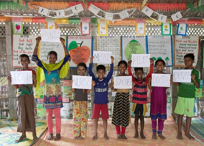 Rohingya refugee children who attend this UNICEF-supported learning center in Teknaf, Cox's Bazar, Bangladesh share their dreams for the futures.