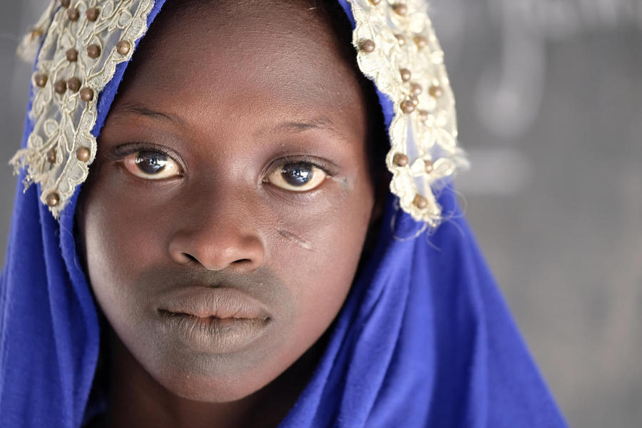 Displaced by violence, Oumou lives in a UNICEF-supported settlement outside Mopti, Mali.
