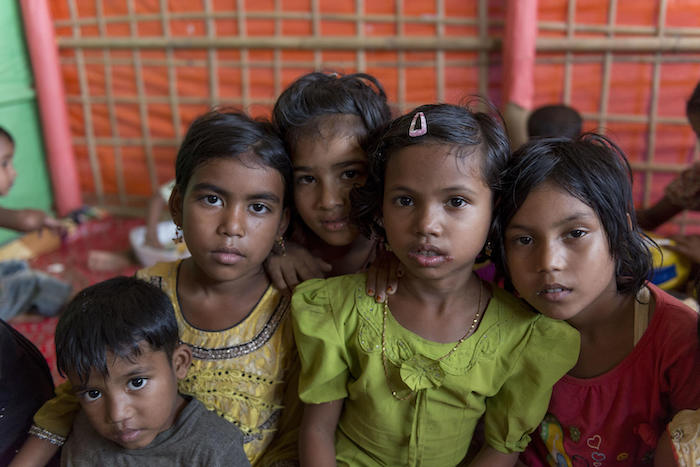 Rohingya children at safe space for women and girls in the Moinarghona refugee camp in Cox's Bazar, Bangladesh. © UNICEF/UN0334323/Chak