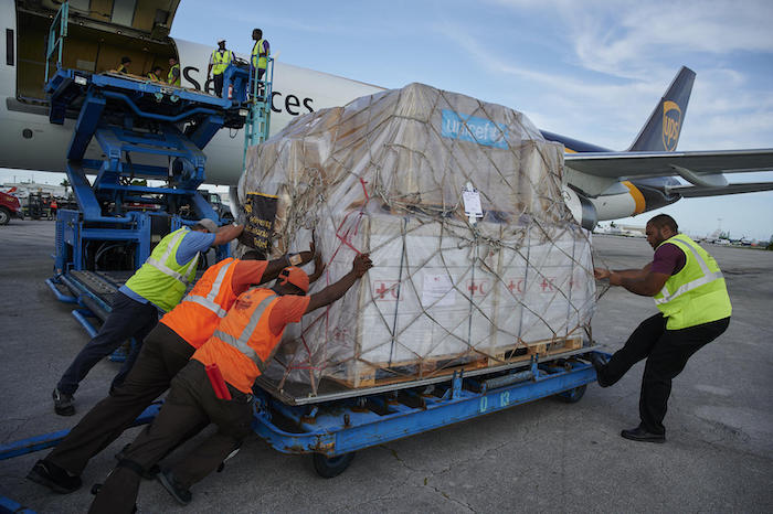 On September 7, 2019, less than a week after Hurricane Dorian hit Abaco and Grand Bahama islands, the first shipment of nearly 1.5 tons of lifesaving UNICEF emergency supplies arrive at Nassau International Airport.
