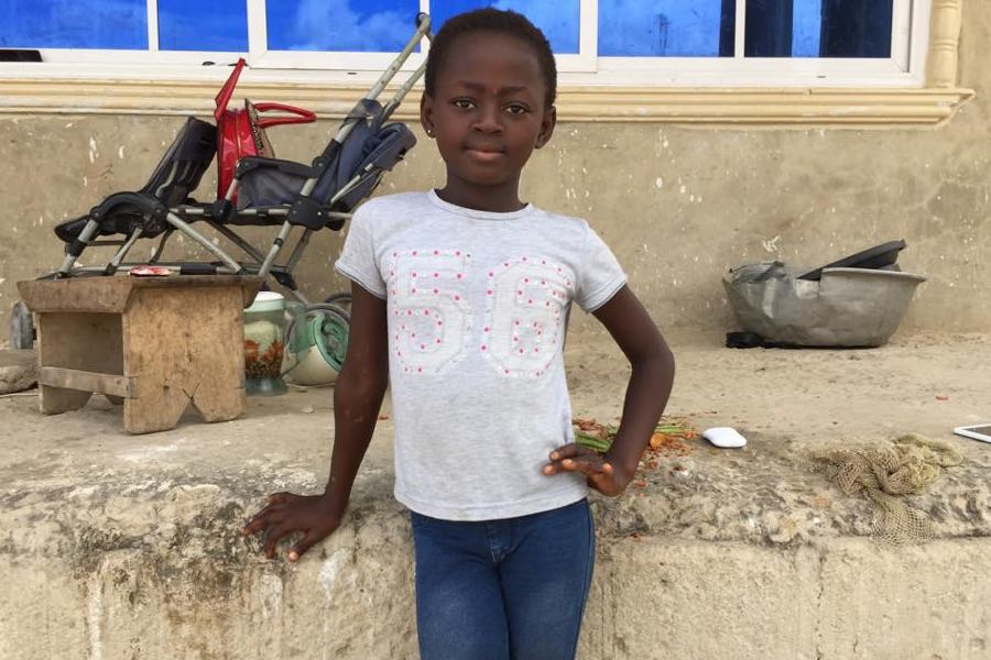 On 21 October 2020, 9-year-old Christabel Owusu-Ampofo poses for a portrait in Ghana. Christabel helped a vaccination team find and vaccinate unimmunized children during the recent national polio vaccination campaign. She approached a vaccination monitori