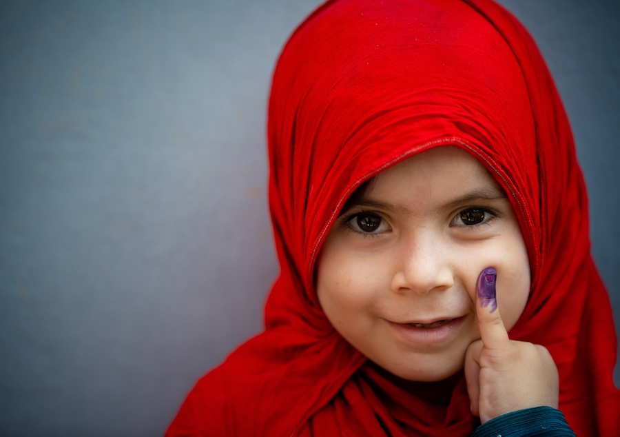 On 22 September 2020, a young girl shows her marked finger after receiving the polio vaccine in Rawalpindi. The country's first national polio vaccination campaign in September 2020 – after a six-month pause due to COVID-19 – reached over 39 million child