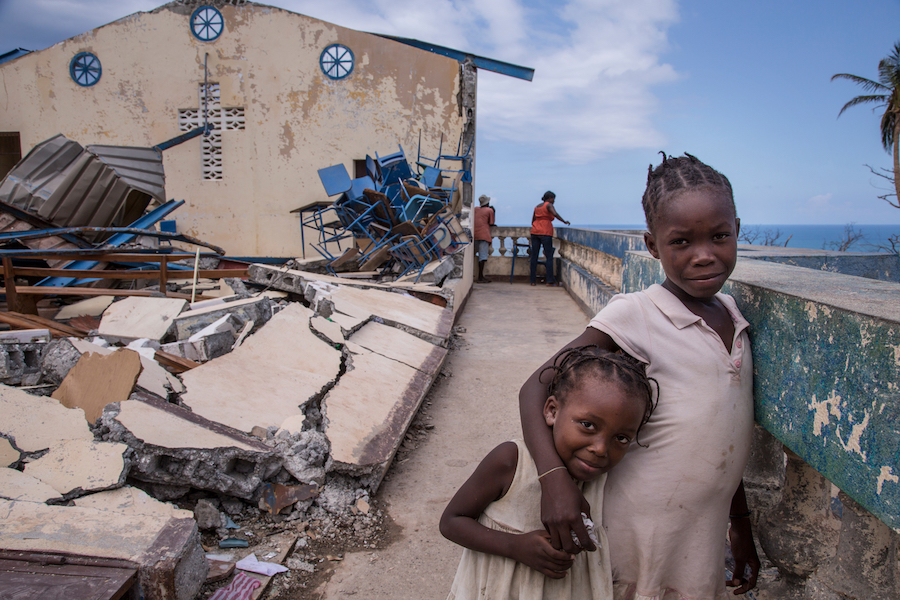 Haiti 2016: Children play at the Chretienne Nan Lindy church in Jeremie, Haiti. Some 300 people sought temporary shelter at the church after their homes were destroyed by Hurricane Matthew.